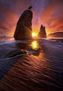 sunset rocks and water